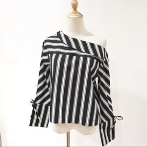 Topshop Black White Striped One Shoulder Top